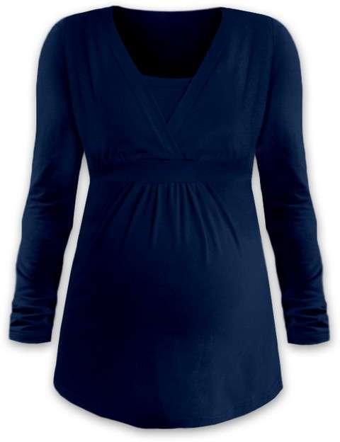 Těhotenská a kojicí tunika anička, dlouhý rukáv, tmavě modrá (jeans) l/xl