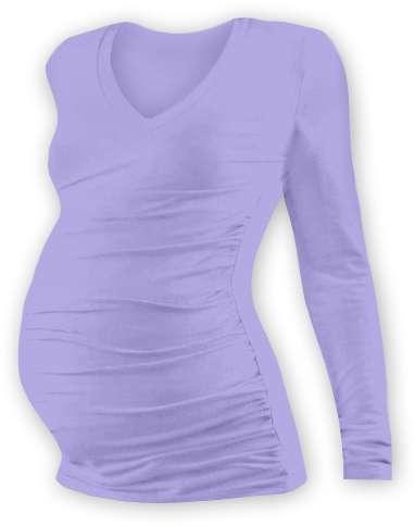Těhotenské tričko Vanda, dlouhý rukáv, světle fialové
