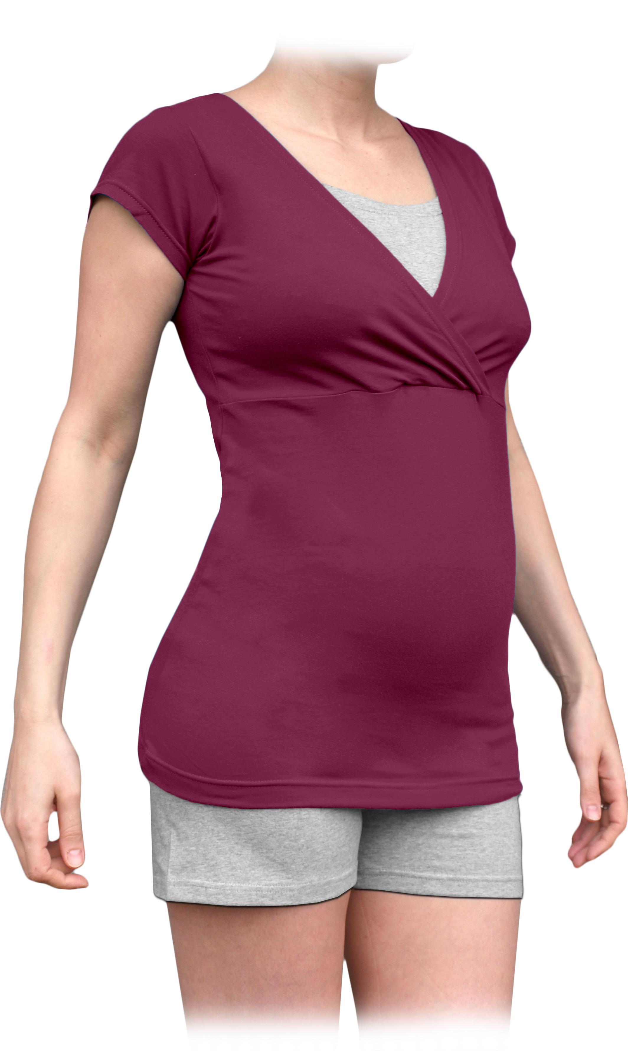 Těhotenské a kojicí pyžamo, krátké, cyklámen+šedý melír l/xl