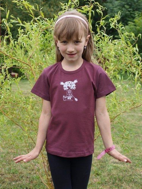 dětské tričko s KR, bordo, ČARODĚJKA