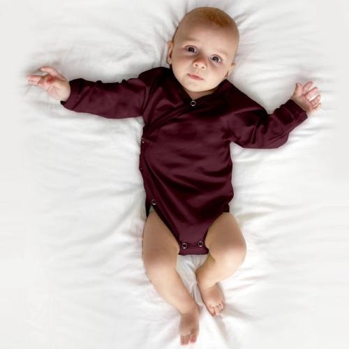 Infant wrapover onesie, bordeaux