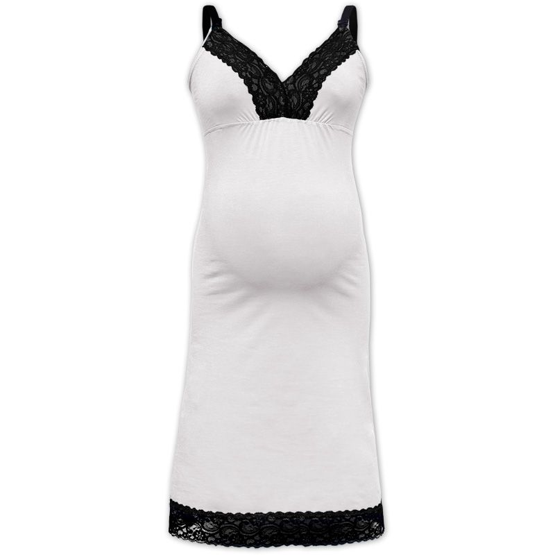 Nightdress with lace, for pregnant and breast-feeding women Jana, cream