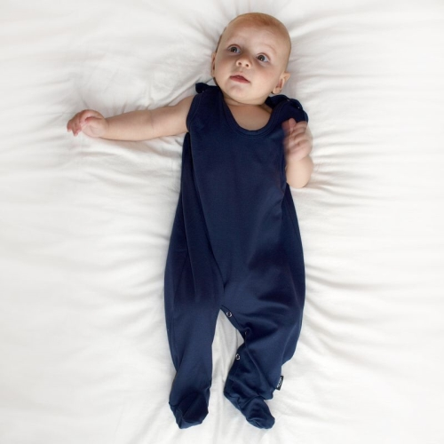 Infant playsuits, baby jumpsuits, rompers, dark blue
