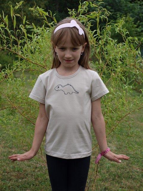 dětské tričko s kr, caffe latte, dinosaurus 80