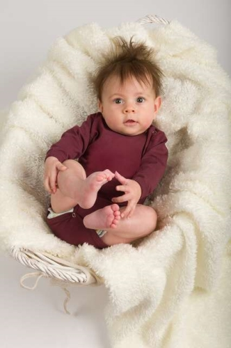Baby cotton onesies with long sleeves, bordeaux