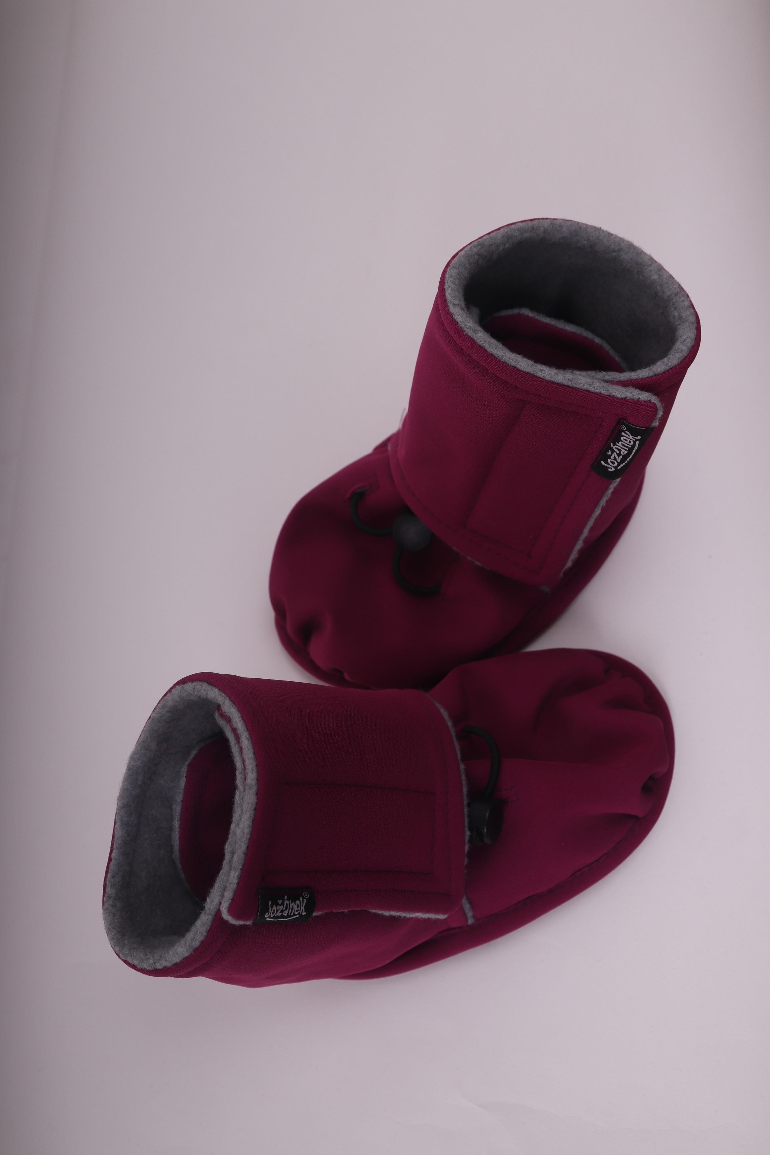 Softshellové zateplené botičky, zimní capáčky, fuchsiová, 18-24m