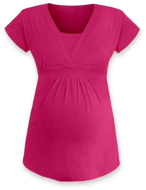Těhotenská a kojicí tunika anička, krátký rukáv, sytě růžová m/l