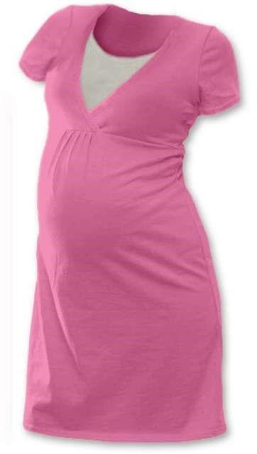 Kojicí noční košile Lucie, krátký rukáv, růžová