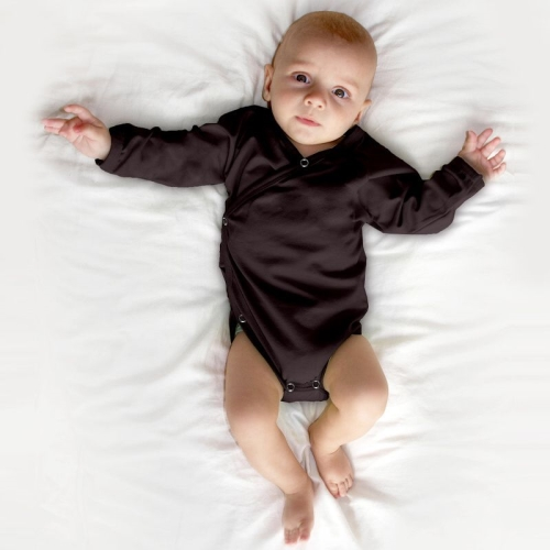 Infant wrapover onesie, chocolate brown