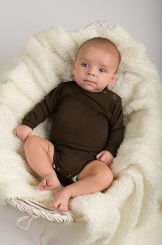 Baby cotton onesies with long sleeves, chocolate brown