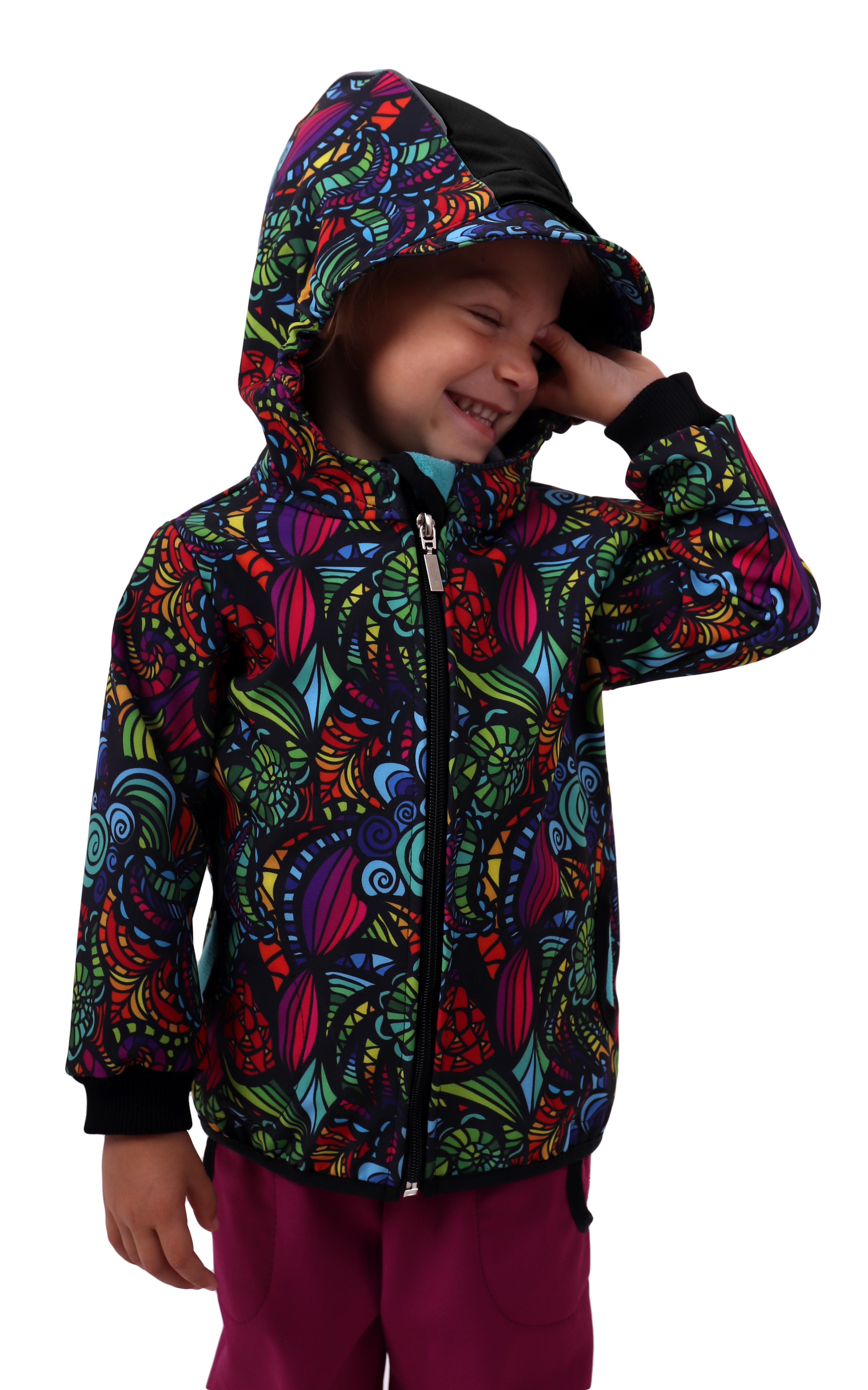 Dětská softshellová bunda, pestrobarevné ulity, 140
