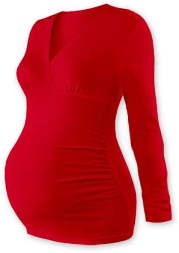 Tehotenská tunika Barbora, dlhý rukáv, červená