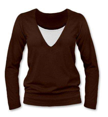 Breast-feeding T-shirt Karla, long sleeves, CHOCOLATE BROWN