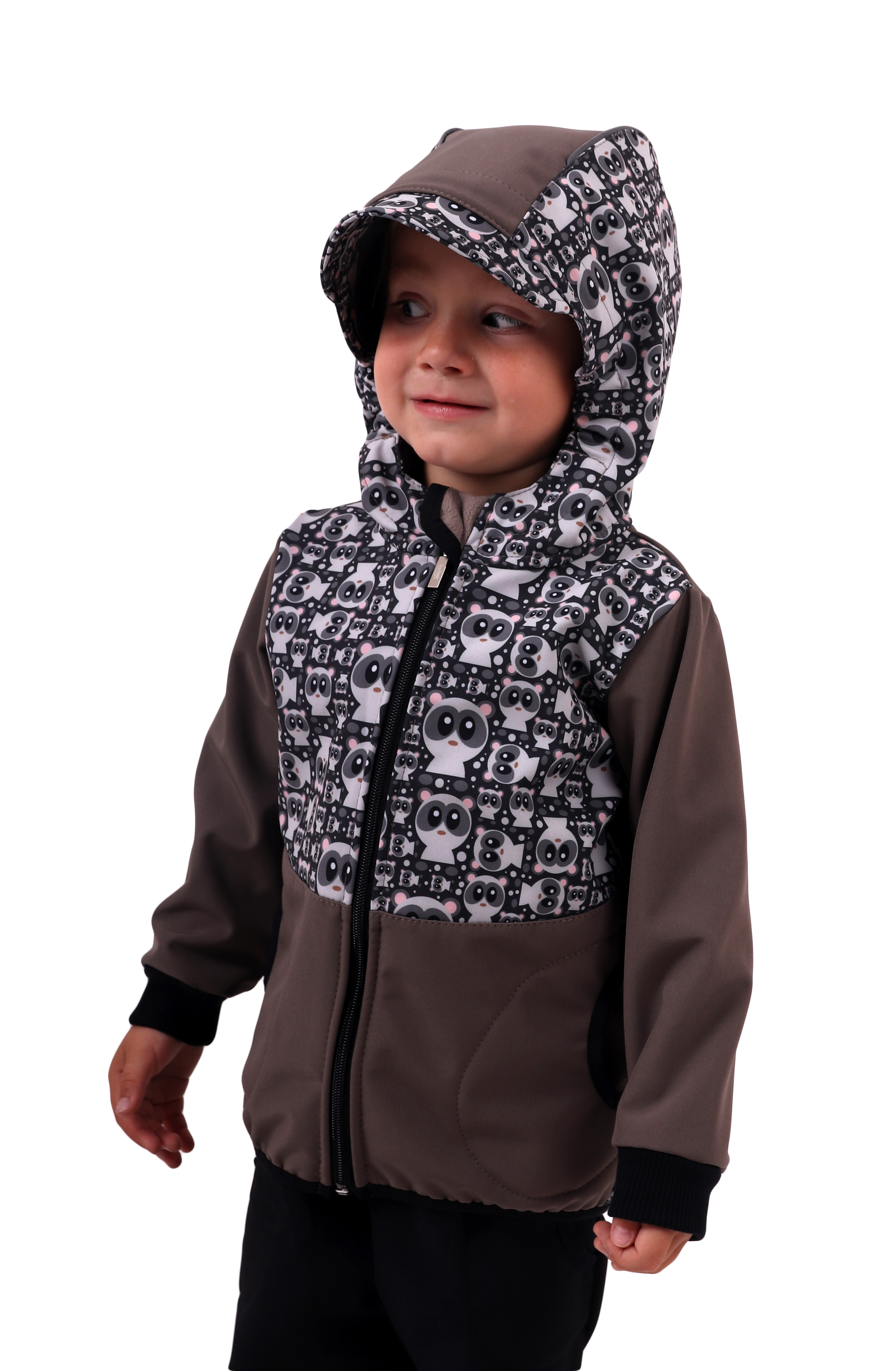Dětská softshellová bunda, pandy+béžová, 122