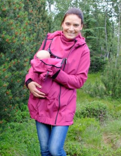 Softshellová těhotenská a nosící bunda Pavla 2, fuchsiově růžová