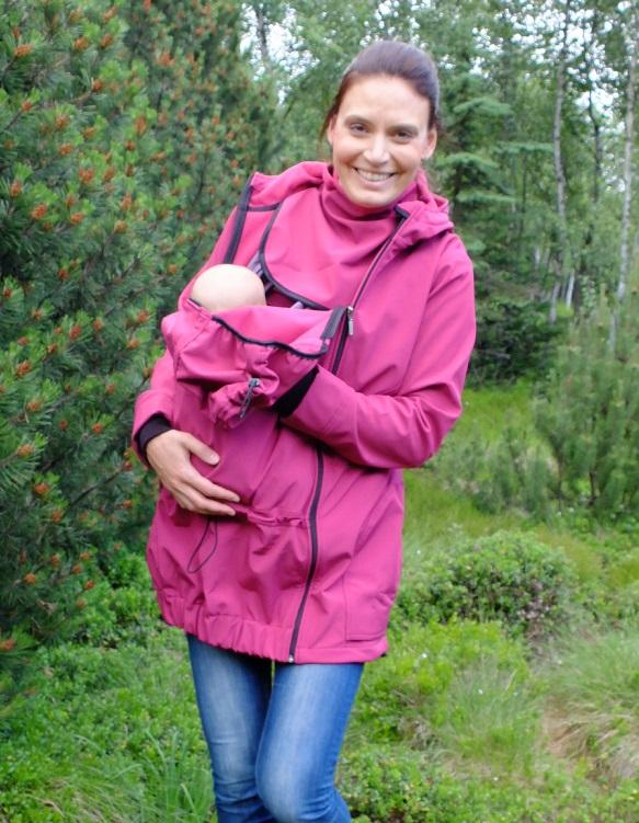 Softshellová těhotenská a nosící bunda pavla 2, fuchsiově růžová s/m