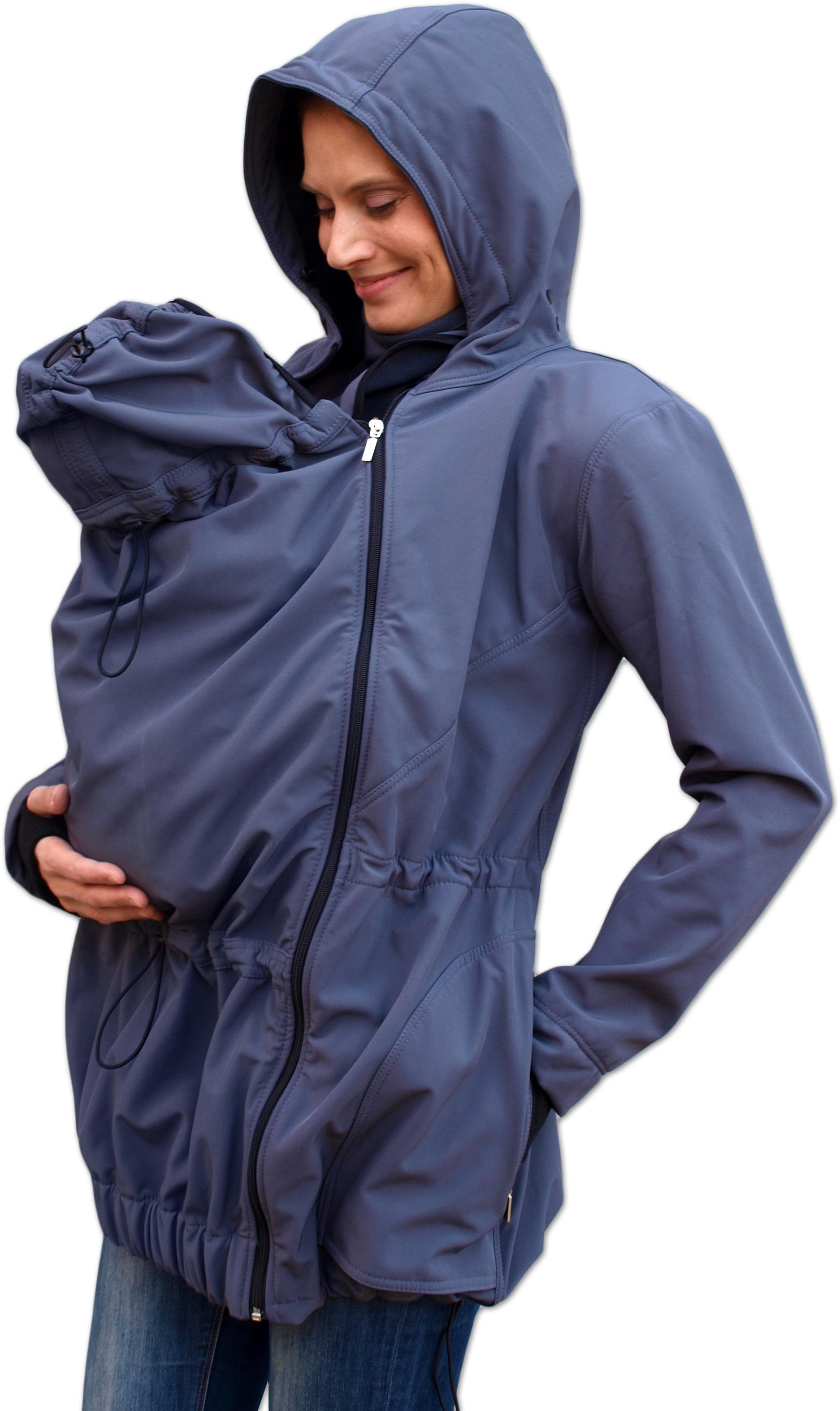 Softshellová těhotenská a nosící bunda Pavla 2, antracitová (tmavě šedá)