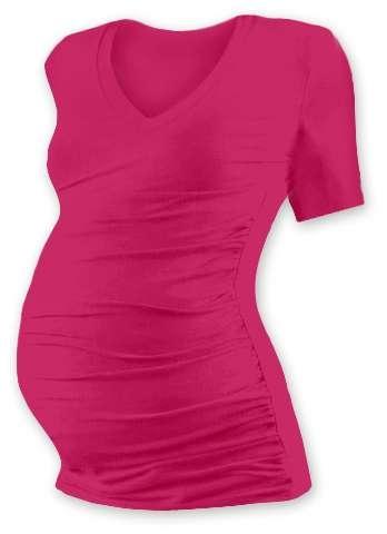 Tehotenské tričko Vanda, krátky rukáv, sýto ružovej