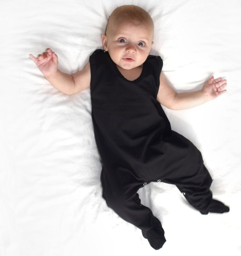 Infant playsuits, baby jumpsuits, rompers, black