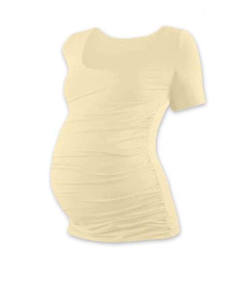 Tehotenské tričko Johanka, krátky rukáv, béžovej (caffe latte)