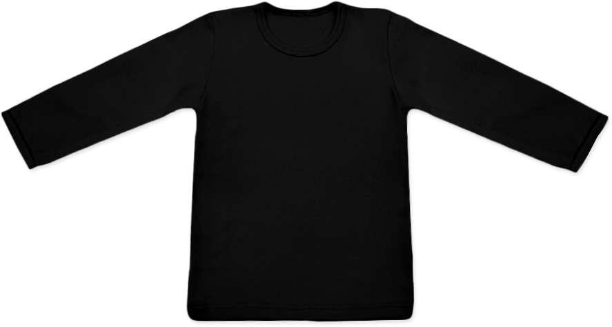 dětské tričko dlouhý rukáv s elastanem, černá 74