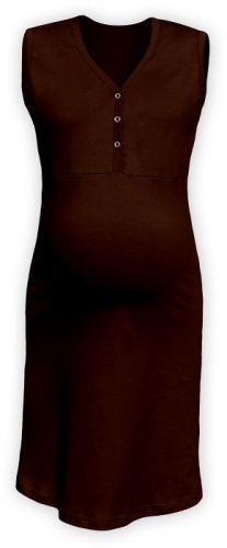 Maternity and breastfeeding nightdress with snap-button neckline Cecilie, CHOCOLATE BROWN