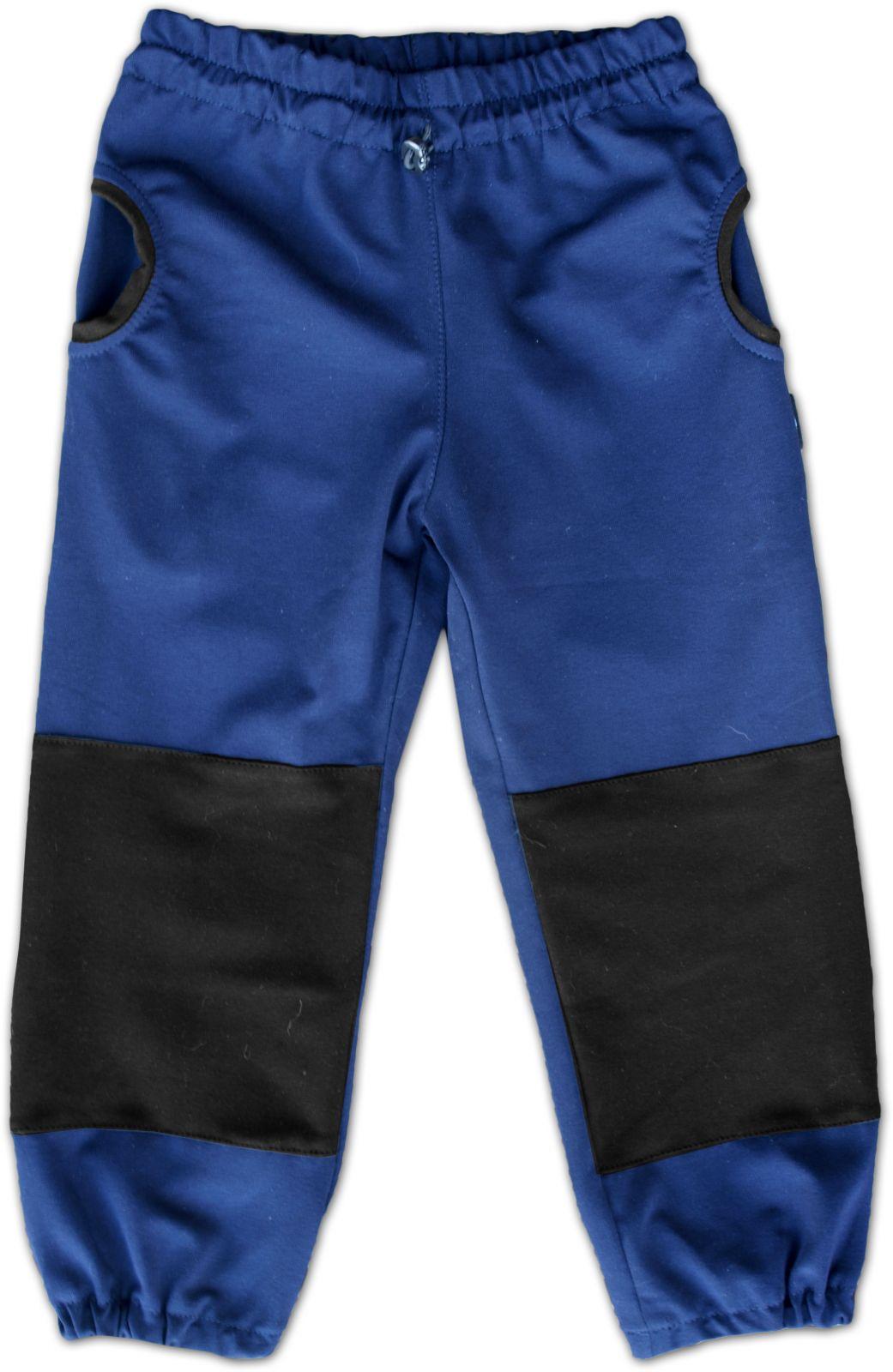 Dětské tepláky s kapsami, bavlněné, tmavě modré, velikost 86