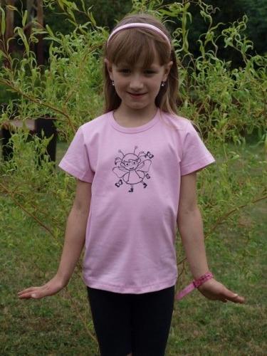 detské tričko s KR sv. ružové, VÍLA