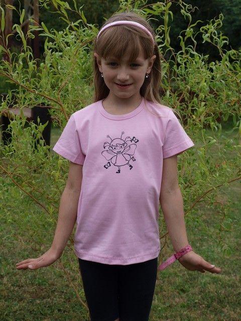 dětské tričko s KR sv. růžové, VÍLA