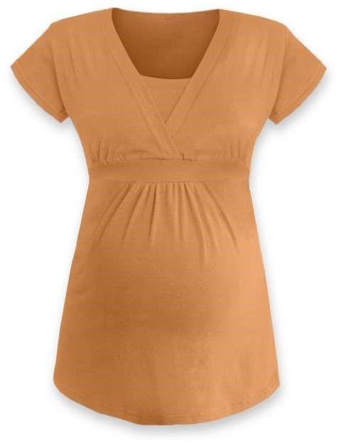 Těhotenská a kojicí tunika Anička, krátký rukáv, oranžová