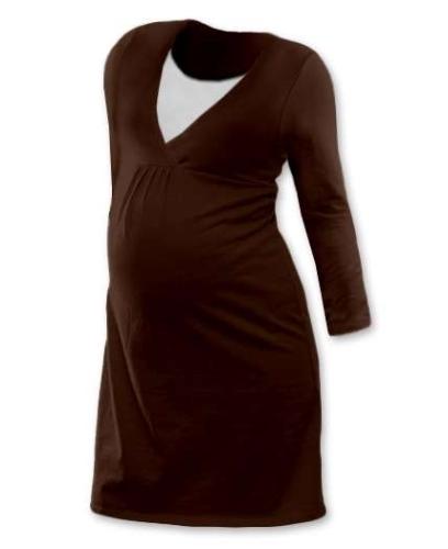 Dojčiace nočná košeľa Lucie, dlhý rukáv, hnedá