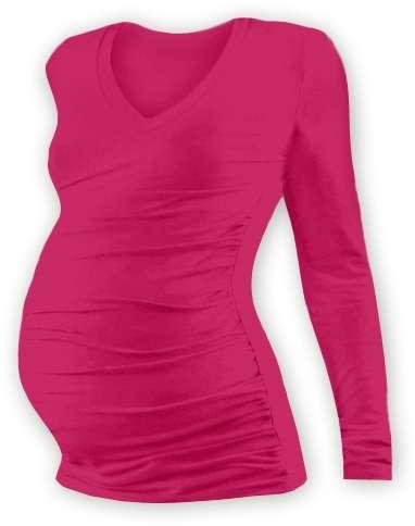 Tehotenské tričko Vanda, dlhý rukáv, sýto ružovej