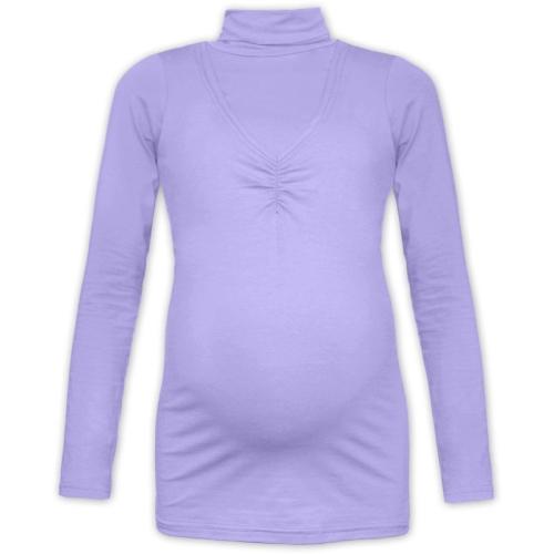 KLAUDIE- breast-feeding roll-colar T-shirt, LILAC