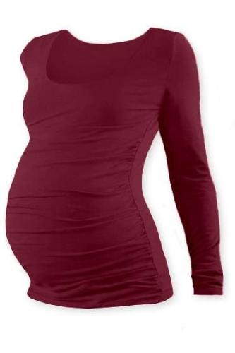 Tehotenské tričko Johanka, dlhý rukáv, bordo