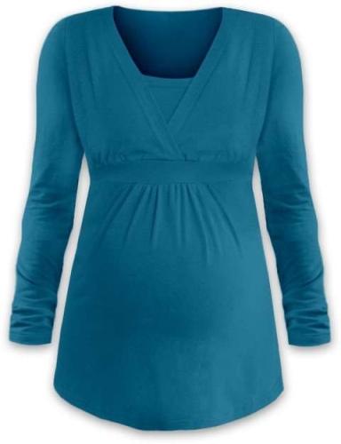 Tehotenská a dojčiace tunika Anička, dlhý rukáv, tmavý tyrkys