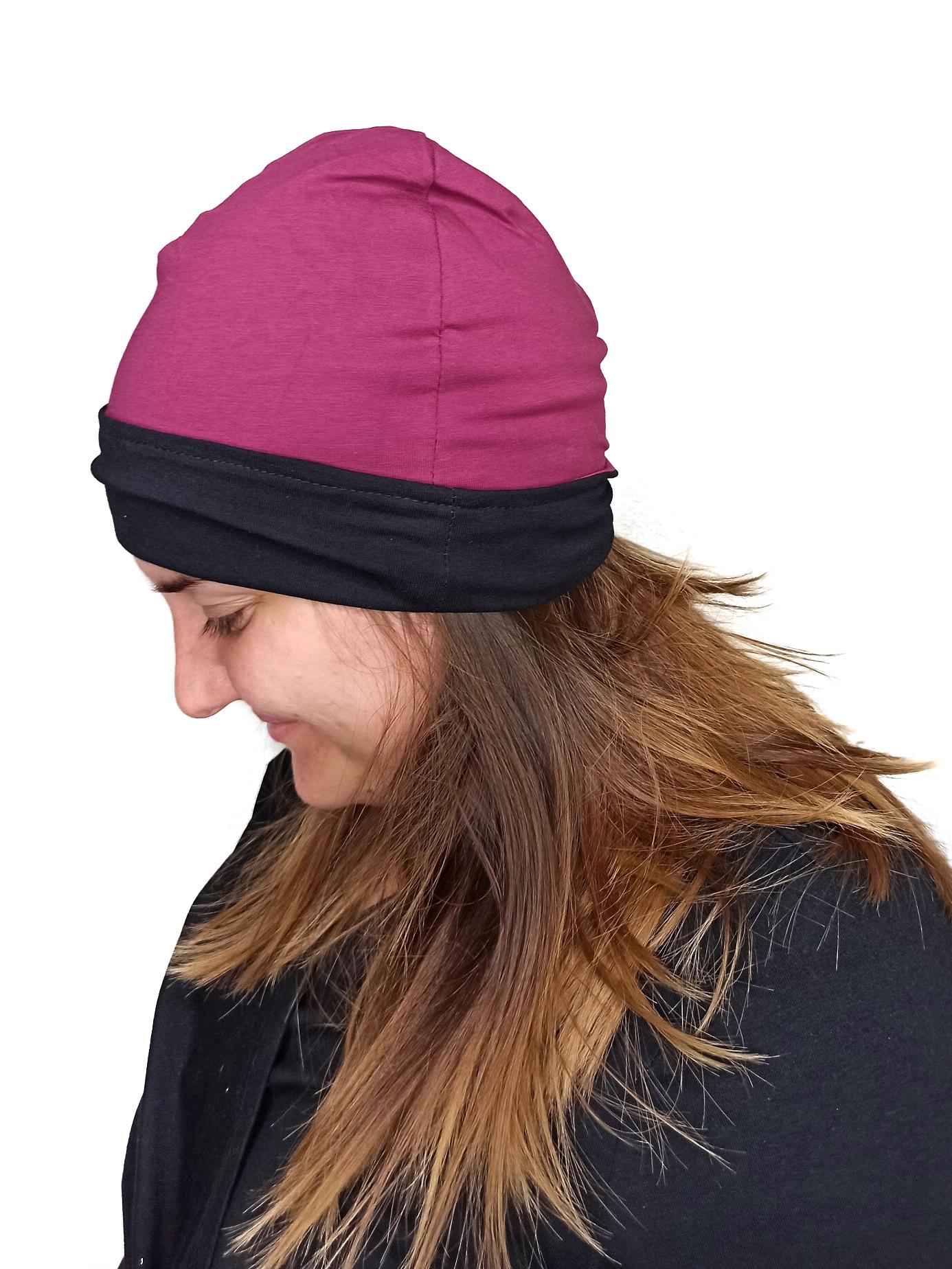Dámská čepice, bavlněná, oboustranná, černá+cyklámen