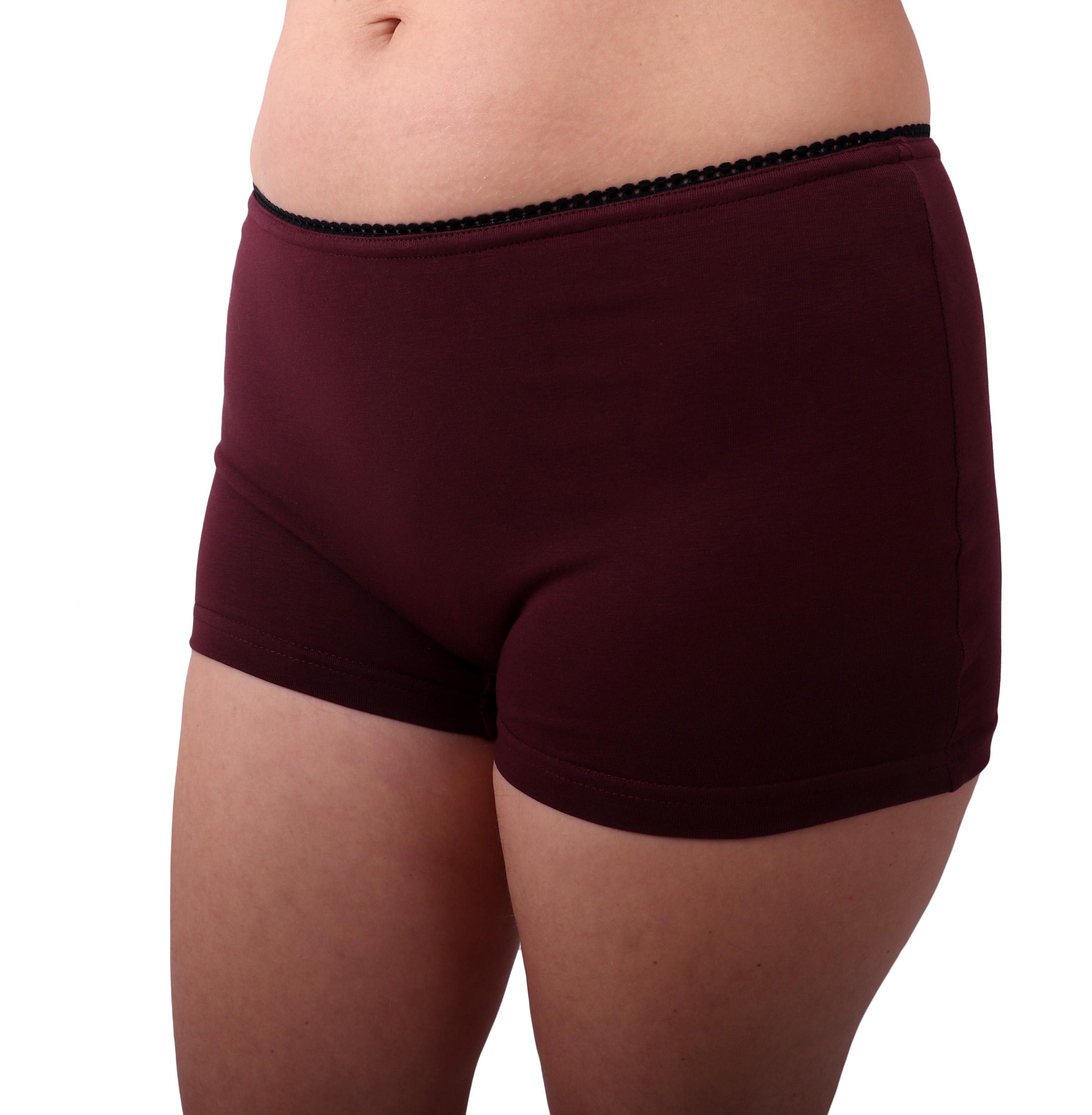 Dámské kalhotky bavlněné, nohavičkové, bordo, 48
