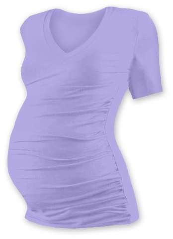 Tehotenské tričko Vanda, krátky rukáv, svetlo fialovej