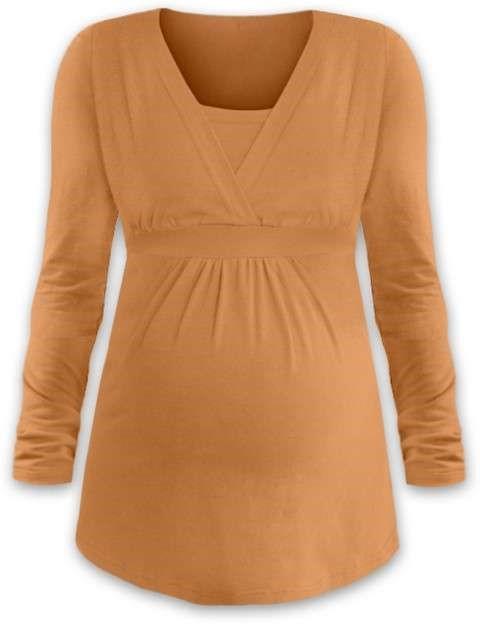 Těhotenská a kojicí tunika Anička, dlouhý rukáv, oranžová