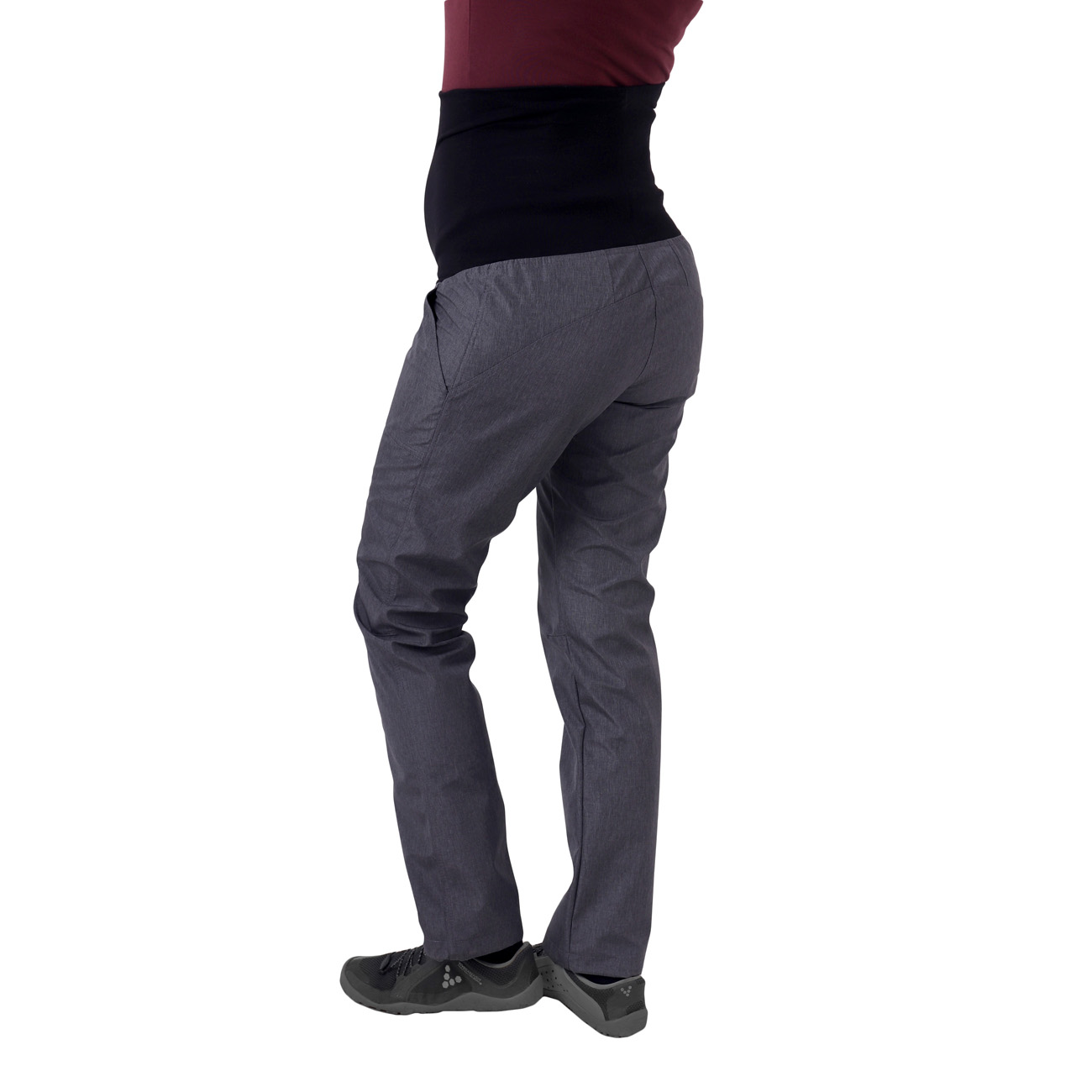 Jarní/letní těhotenské softshellové kalhoty liva, šedý melír, 40 normální délka