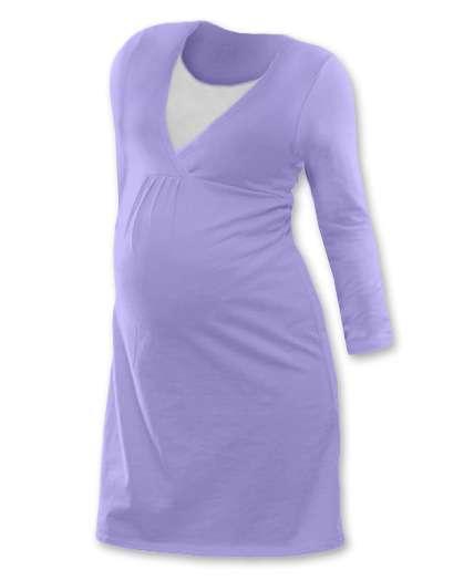 Kojicí noční košile Lucie, dlouhý rukáv, světle fialová