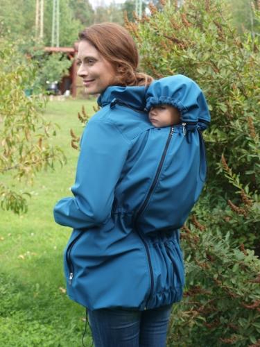 Softshellová těhotenská a nosící bunda Alice 2, petrolejová