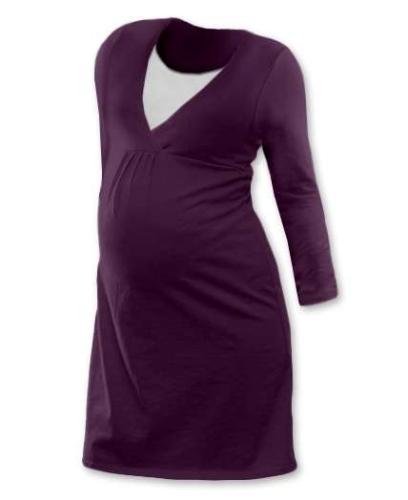 LUCIE- Umstands- und Stillnachthemd, lange Ärmel, pflaumenviolett