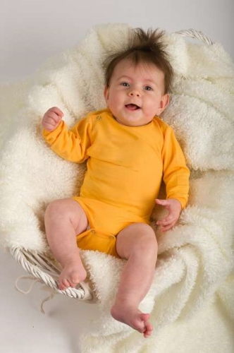 Baby cotton onesies with long sleeves, yellow-orange