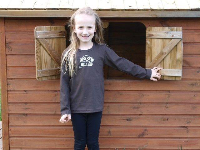 Shirt für Kinder, lange Ärmel, schokoladenbraun