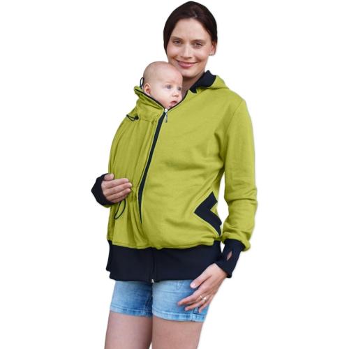 Organic cotton maternity and babywearing sweatshirt Beata (front use only), LIME
