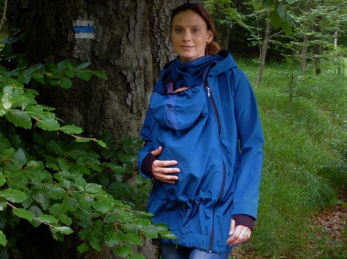 Maternity and babywearing softshell jacket Pavla 2 ( front babywearing only ), petroleum