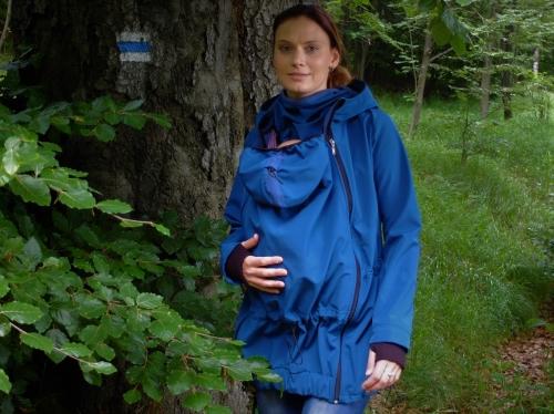 Softshellová těhotenská a nosící bunda Pavla 2, petrolejová