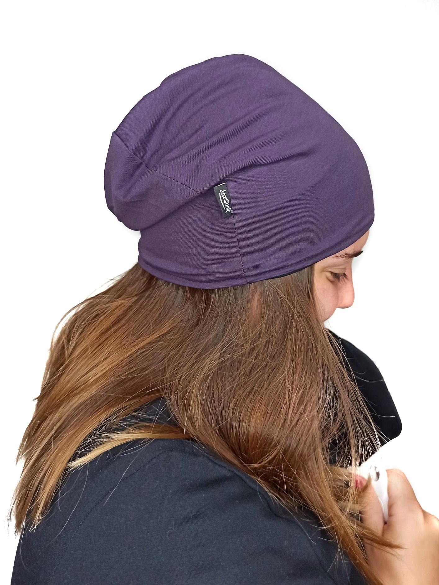 Dětská čepice bavlněná, obuoustranná, černá+švestkově fialová, m