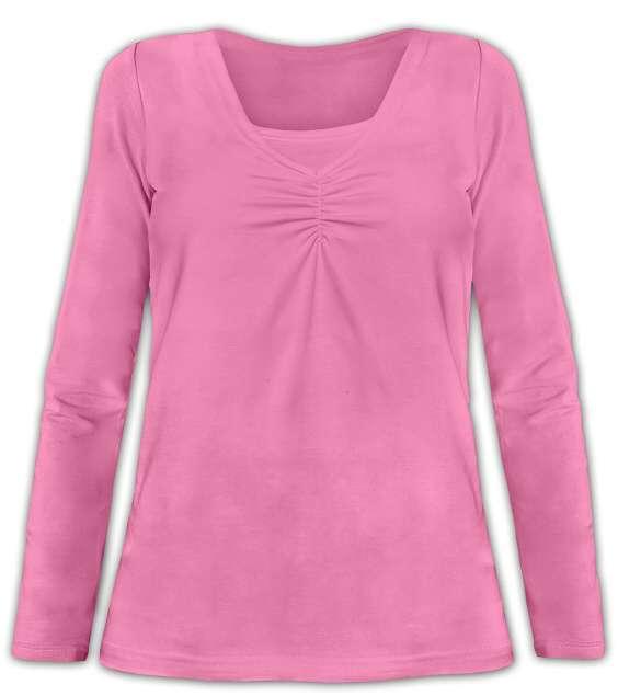 Kojící tričko klaudie, vsadka v barvě, dlouhý rukáv, růžová m/l